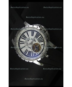 Roger Dubuis Excalibur Tourbillon Watch Japanese Movement - White Dial