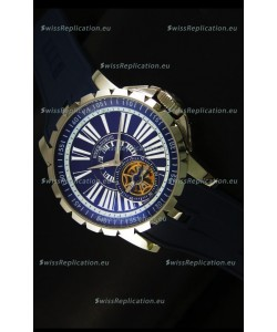 Roger Dubuis Excalibur Tourbillon Watch Japanese Movement - Blue Dial
