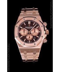 Audemars Piguet Royal Oak Chronograph Watch in Pink Gold Case Brown Dial