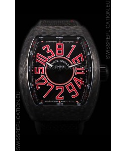 Franck Muller Vanguard Carbon Casing Red Indexes Swiss Watch