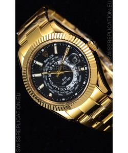 Rolex SkyDweller Swiss Watch in 18K Yellow Gold Case - DIW Edition Black Dial