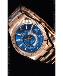 Rolex SkyDweller Swiss Watch in 18K Rose Gold Case - DIW Edition Deep Blue Dial