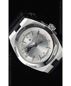 Vacheron Constantin Overseas MoonPhase Stainless Steel Swiss Watch in Black Strap