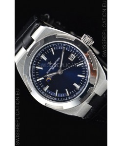 Vacheron Constantin Overseas MoonPhase Stainless Steel Swiss Watch in Blue Dial