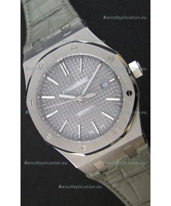 Audemars Piguet Royal Oak 41MM Grey Dial Leather Strap - 1:1 Mirror Ultimate Edition