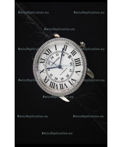 "Cartier ""Ronde De Cartier"" Stainless Steel Case watch with Lab Created Diamonds Bezel"