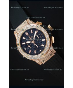 Hublot Big Bang Carbon Dial Diamonds Studded Rose Gold Swiss Watch