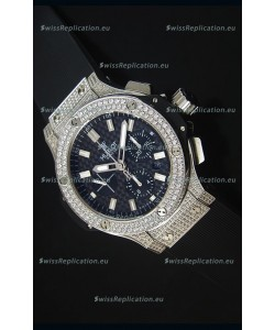Hublot Big Bang Carbon Dial Diamonds Studded Stainless Steel Swiss Watch