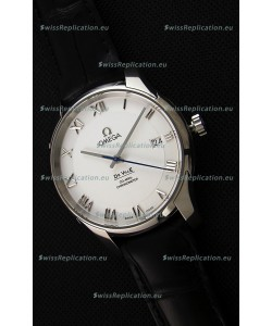 Omega De-Ville Annual Calendar Co-Axial Swiss Replica Watch 1:1 Mirror Edition in White Dial