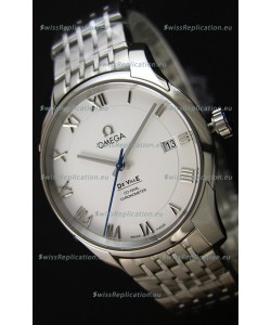 Omega De-Ville Annual Calendar Steel Strap Swiss Replica Watch 1:1 Mirror Edition in White Dial