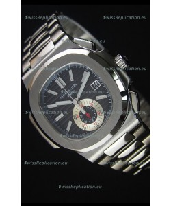 Patek Philippe Nautilus 5980 Chronograph Steel Case in Black Dial - 1:1 Mirror Replica