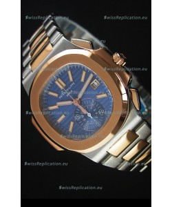 Patek Philippe Nautilus 5980 Chronograph Two Tone Case Blue dial - 1:1 Mirror Replica