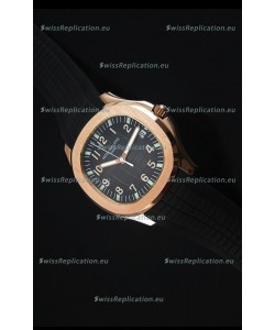 Patek Philippe Aquanaut Jumbo Rose Gold 1:1 Mirror Replica Watch - Black Colored Dial