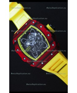 Richard Mille RM35-01 One Piece Red Forged Carbon Case Watch in Yellow Strap