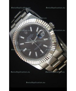 Rolex Datejust II 41MM with Cal.3136 Movement Swiss Replica Watch in Grey Dial Stick Markers