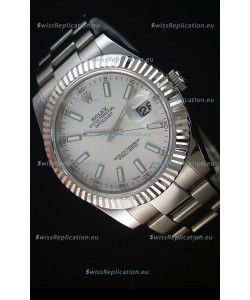 Rolex Datejust II 41MM with Cal.3136 Movement Swiss Replica Watch in White Dial Stick Markers