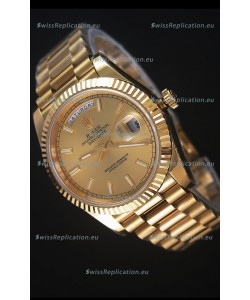 Rolex Day-Date 40MM Replica Watch in Gold Dial Stick Markers Cal.3255 Swiss Movement