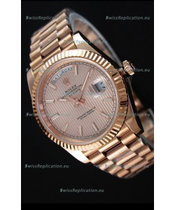 Rolex Day-Date 40MM Rose Gold in Pink Gold Textured Dial Roman Numerals Swiss Watch