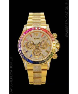 Rolex Daytona ICED OUT Yellow Gold Watch Original Cal.4130 Movement - 1:1 Mirror 904L Steel Watch