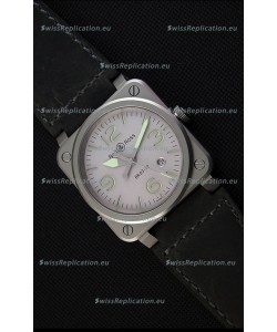 Bell & Ross BR03-92 Horolum Grey Dial Leather Strap Swiss Replica Watch 1:1 Mirror Replica