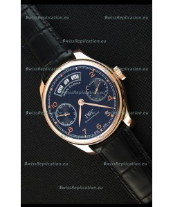 IWC Portugieser Annual Calender Midnight Blue Pink Gold IW503504 1:1 Mirror Replica