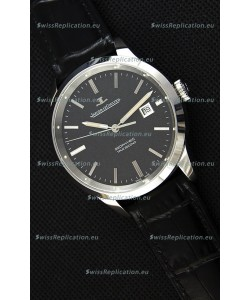Jaeger LeCoultre Geophysic True Second Steel Case Watch Black Dial