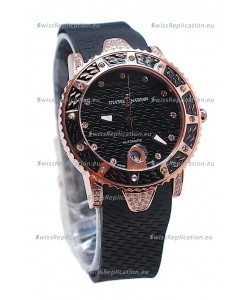 Ulysse Nardin Diver Pink Gold Watch in Black Dial