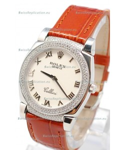 Rolex Cellini Cestello Ladies Swiss Watch Roman White Face Diamonds Bezel and Lugs
