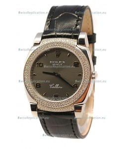 Rolex Cellini Cestello Ladies Swiss Watch in Matte Black Face Diamonds Bezel and Lugs
