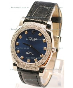 Rolex Cellini Cestello Ladies Swiss Watch in Dark Blue Face Diamonds Bezel and Lugs