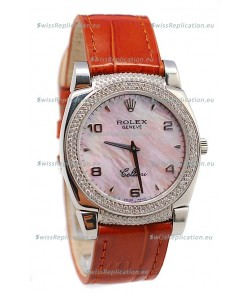 Rolex Cellini Cestello Ladies Swiss Watch Pink Pearl Face Diamonds Bezel and Lugs