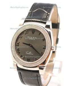 Rolex Cellini Cestello Ladies Swiss Watch in Matte Black Face and Roman Markers