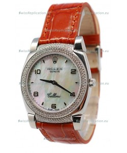 Rolex Cellini Cestello Ladies Swiss Watch Beige Pearl Face Diamonds Bezel and Lugs