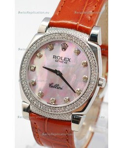 Rolex Cellini Cestello Ladies Swiss Watch in Pink Pearl Face Diamonds Hour, Bezel and Lugs