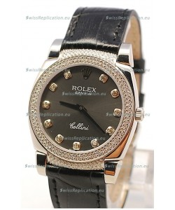 Rolex Cellini Cestello Ladies Swiss Watch in Matte Black Face and Diamond Bezel