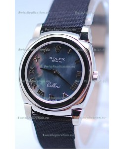 Rolex Cellini Cestello Ladies Swiss Watch in Black Pearl Face