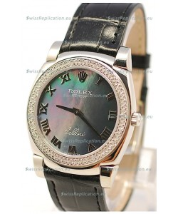 Rolex Cellini Cestello Ladies Swiss Watch in Black Pearl Face Roman Markers