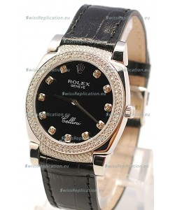 Rolex Cellini Cestello Ladies Swiss Watch in Matte Black Face Diamond Markers