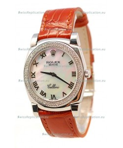 Rolex Cellini Cestello Ladies Swiss Watch White Pearl Roman Diamonds Bezel