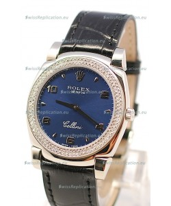 Rolex Cellini Cestello Ladies Swiss Watch in Dark Blue Face Diamonds Bezel