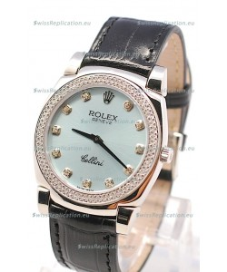 Rolex Cellini Cestello Ladies Swiss Watch in Blue Metalic Face Diamonds Markers