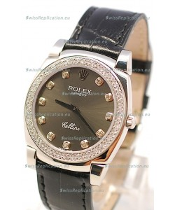 Rolex Cellini Cestello Ladies Swiss Watch in Matte Black Face and Diamond Markers