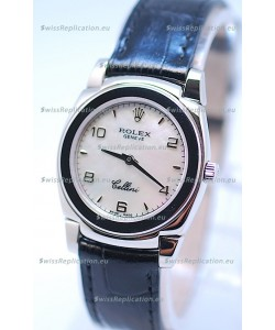 Rolex Cellini Cestello Ladies Swiss Watch in White Pearl Face