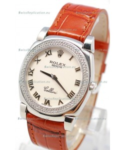 Rolex Cellini Cestello Ladies Swiss Watch White Roman Face Diamonds Bezel