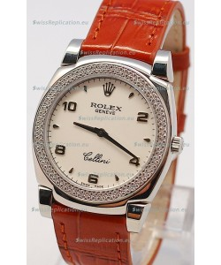 Rolex Cellini Cestello Ladies Swiss Watch in White Face Diamonds Bezel