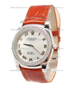 Rolex Cellini Cestello Ladies Swiss Watch Roman Silver Face Diamonds Bezel